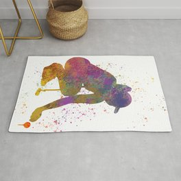 Female golf player competing in watercolor 05 Rug