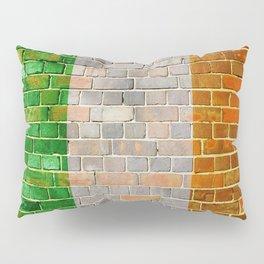 Ireland flag on a brick wall Pillow Sham