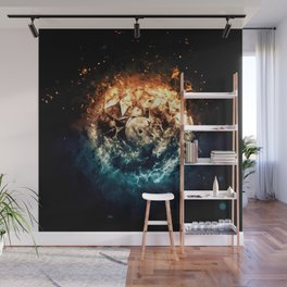 Burning Circle - Fire and Ice - Isolated Wall Mural