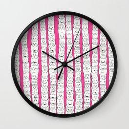 Stacks of cats pink Wall Clock