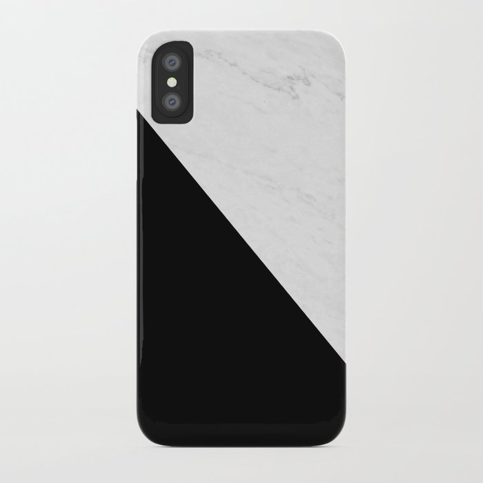 Marble And Black Diagonal iPhone Case