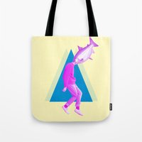 thrones Tote Bags featuring A perfect day for bananafish by Laura Nadeszhda