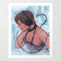 headphones Art Prints featuring Headphones by Colleen Moran