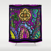 murakami Shower Curtains featuring Moroccan inspired flowers by Marcy Murakami