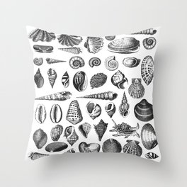 Vintage Sea Shell Drawing Black And White Throw Pillow