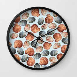 Small Seashells light blue. background Wall Clock