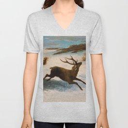 "Gustave Courbet ""Deer Running in the Snow"" Unisex V-Neck"