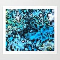 Strange Topography - Aqua Art Print