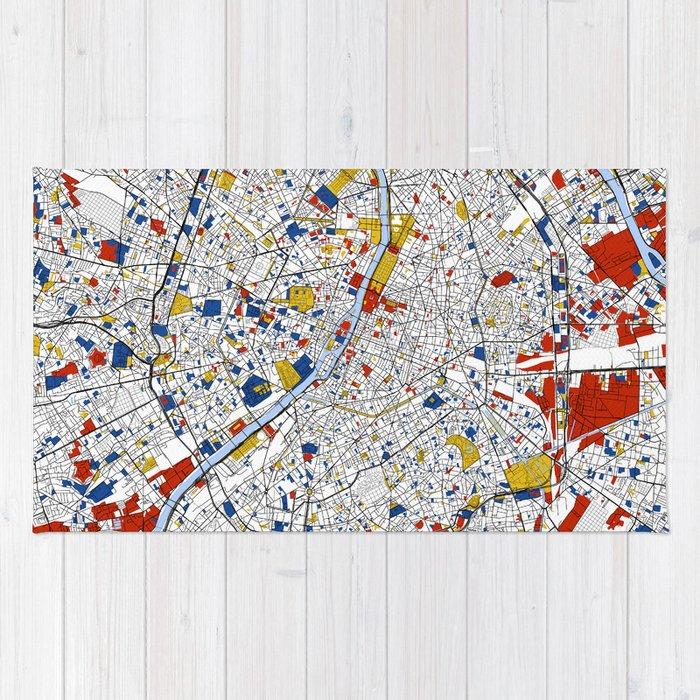 Paris Mondrian Map Art Rug By Mondrianmapart Society6