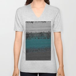 Teal and Gray Abstract Unisex V-Neck