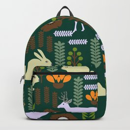 A garden with bunnies and deer Backpack