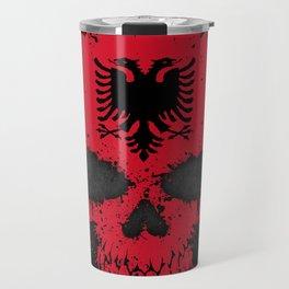 Flag of Albania on a Chaotic Splatter Skull Travel Mug
