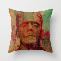 frankenstein Throw Pillows featuring frankenstein by Ganech joe