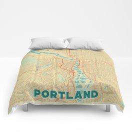 Portland Map Retro Comforters