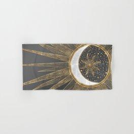 Elegant Gold Doodles Sun Moon Mandala Design Hand & Bath Towel
