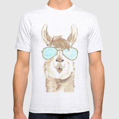 Aviator Llama Watercolor Ash Grey Mens Fitted Tee X-LARGE