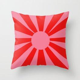Pink Red Summer Sun Throw Pillow