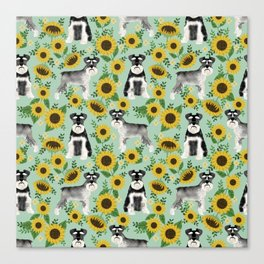 Schnauzer sunflowers spring summer floral dog breed dog pattern pet friendly Canvas Print