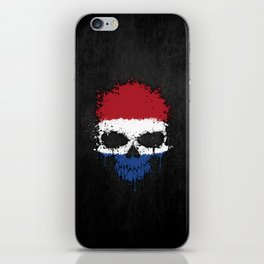 Flag of The Netherlands on a Chaotic Splatter Skull iPhone Skin