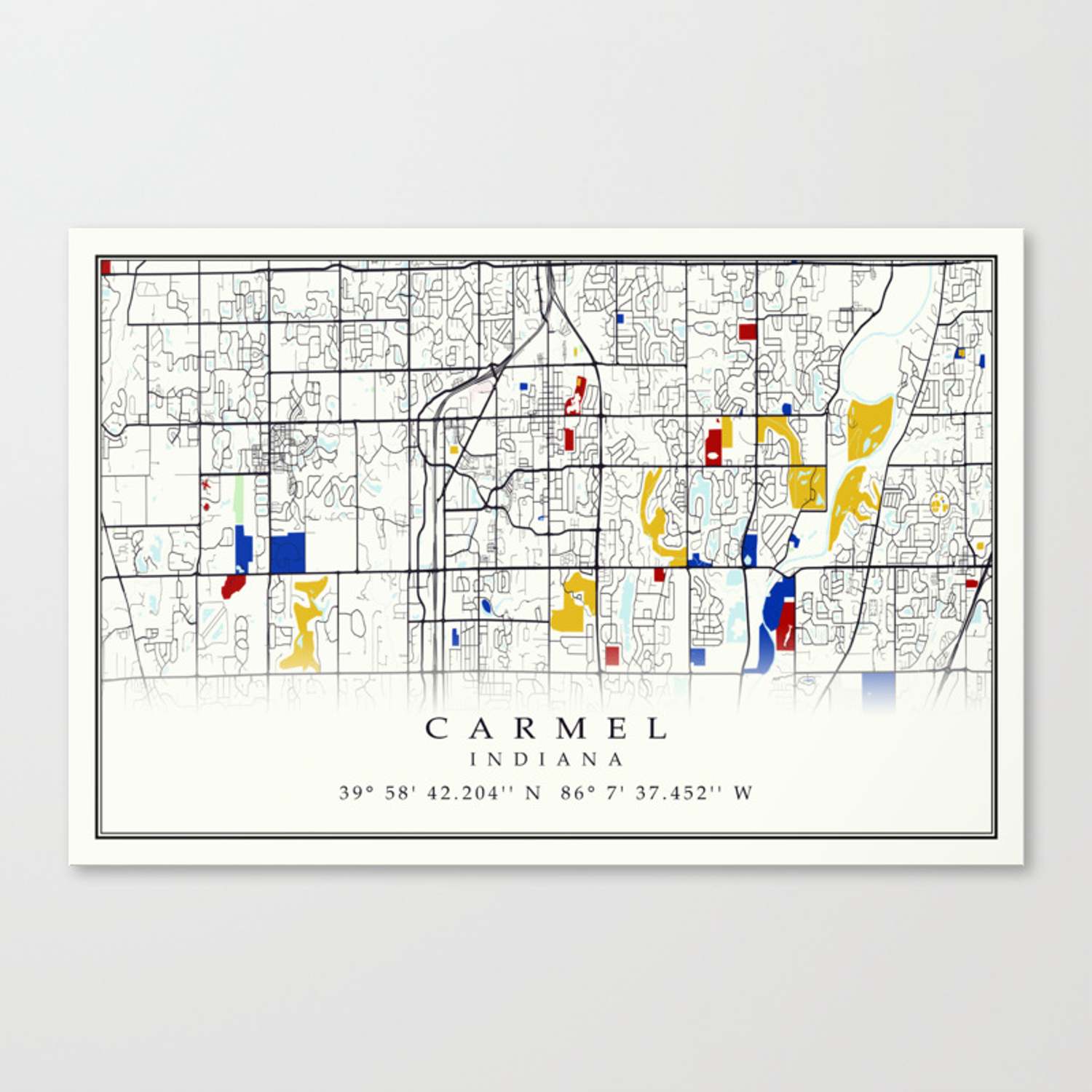 Carmel Indiana Map with GPS location Canvas Print on thunder bay ontario canada map, downieville map, greenfield map, monticello map, clayton map, california coast map, carroll map, santa barbara map, seaside map, mt laguna map, belmont map, san francisco map, monmouth map, rushville map, big sur map, capitola map, university of notre dame map, highland map, avenue of the giants map, brentwood map,