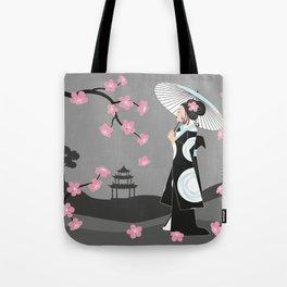 Japanese Geisha under Cherry Blossoms Tote Bag