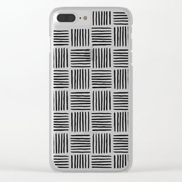 Sideways Stripes - Black Mudcloth Pattern Clear iPhone Case