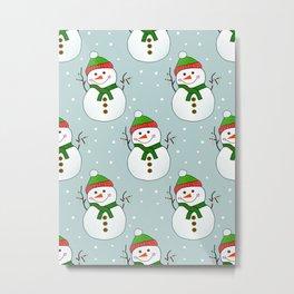Christmas Snowman Pattern Metal Print