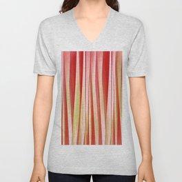Living Coral and Blood Orange Striped Pattern Unisex V-Neck
