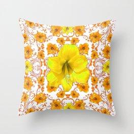 YELLOW & GOLD BOHEMIAN ART FLORAL ON WHITE Throw Pillow