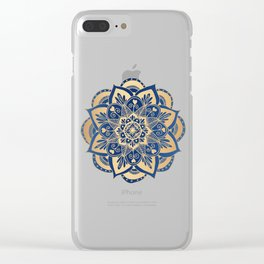 Blue and Gold Flower Mandala Clear iPhone Case