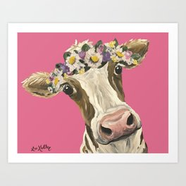 Cute Cow Art, Colorful Flower Crown Cow Art Art Print