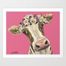Cute Cow Art, Colorful Flower Crown Cow Art Art Print