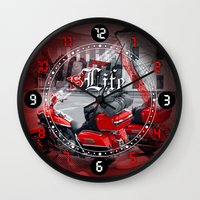 moto Wall Clocks featuring Moto is life by LaDa