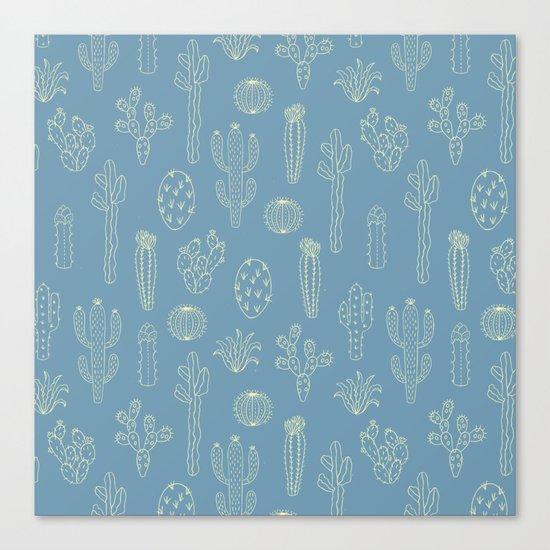 Cactus Silhouette Blue Canvas Print