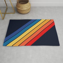 Medussa - Classic Colorful 70s Vintage Style Retro Summer Stripes Rug