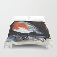 uk Duvet Covers featuring Robin Wild UK Garden Bird Acrylics On Paper by James Peart