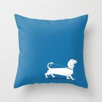 dachshund Throw Pillows featuring Dachshund by David Soames