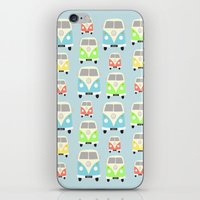 vans iPhone & iPod Skins featuring Camper Vans by Laura Maria Designs