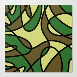 Camo Curves - Abstract, camouflage coloured pattern Canvas Print