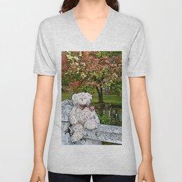 Teddy bear by the pond in autumn Unisex V-Neck