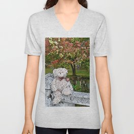 Teddy bear by the pond in autumn Unisex V-Neck