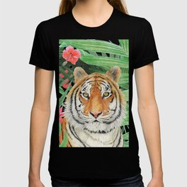 Tiger with flowers T-shirt