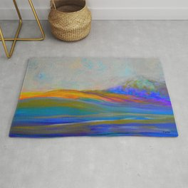 Clouds Rolling In Abstract Landscape Purple and Teal Rug