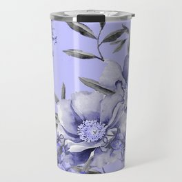 Periwinkle and Gray Floral Travel Mug
