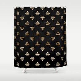 Black Gold Ombre Diamonds Shower Curtain