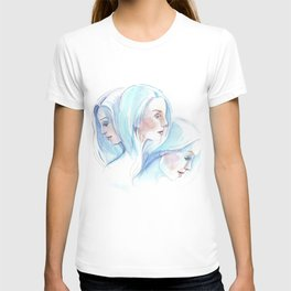 Three girls with blue hair in motion T-shirt
