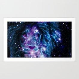 Leo Galaxy Lion : Purple Blue Art Print