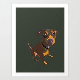 Green Dog Drawing Art Print