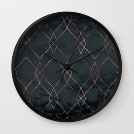 Modern Deco Rose Gold and Marble Geometric Dark Wall Clock