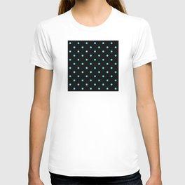 Trendy Aqua-Green Dot Pattern on Black T-shirt